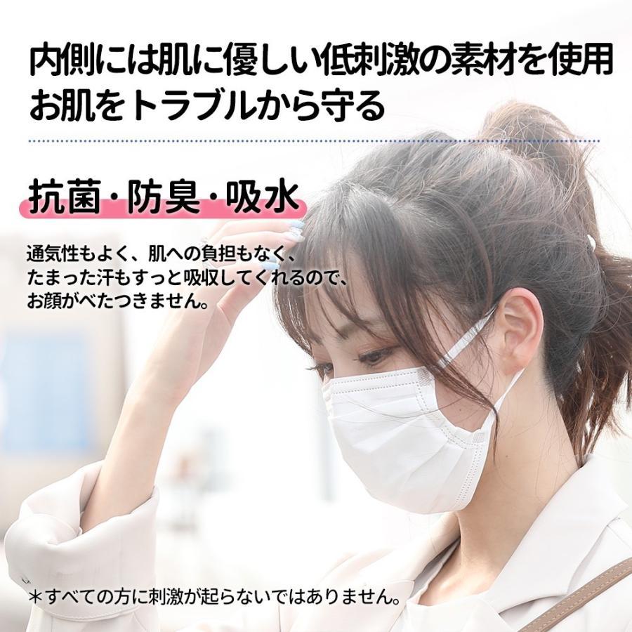 マスク 不織布 カラー 165mm Mサイズ ミディアム ふつう ホワイト 50枚 平ゴム15mm 個包装 hymstore 04