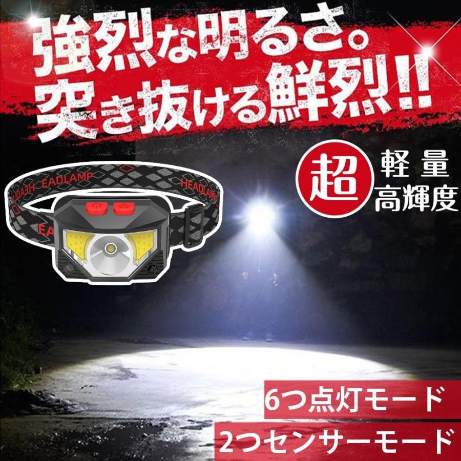 ヘッドライト 充電式 超強力 LED ヘッドランプ 釣り センサー機能 アウトドア キャンプ 登山 センサー LEDライト 作業用 防災 6モード 角度調節可 IPX4防水 hyp