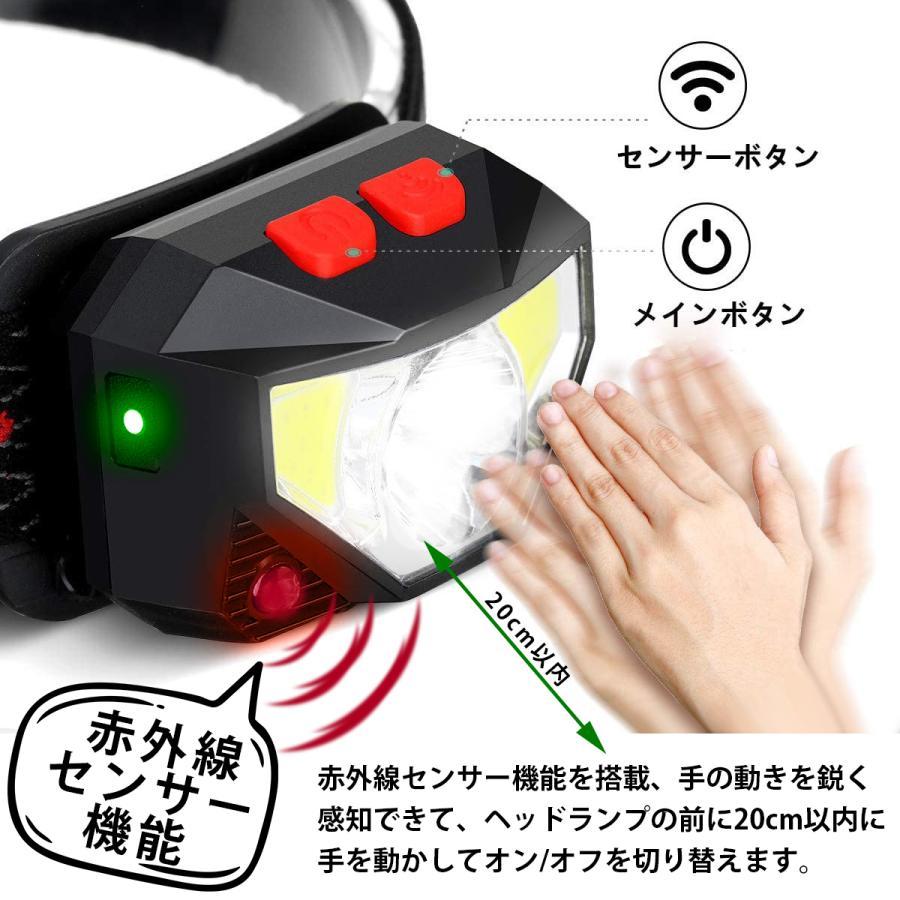 ヘッドライト 充電式 超強力 LED ヘッドランプ 釣り センサー機能 アウトドア キャンプ 登山 センサー LEDライト 作業用 防災 6モード 角度調節可 IPX4防水 hyp 04