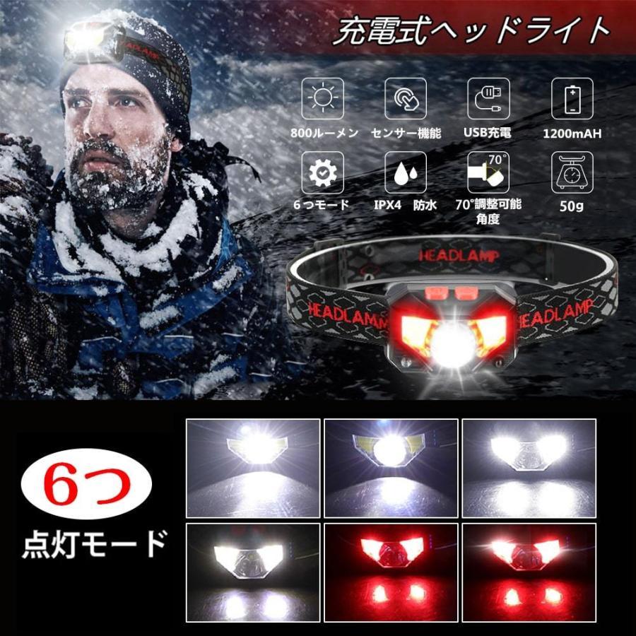 ヘッドライト 充電式 超強力 LED ヘッドランプ 釣り センサー機能 アウトドア キャンプ 登山 センサー LEDライト 作業用 防災 6モード 角度調節可 IPX4防水 hyp 07