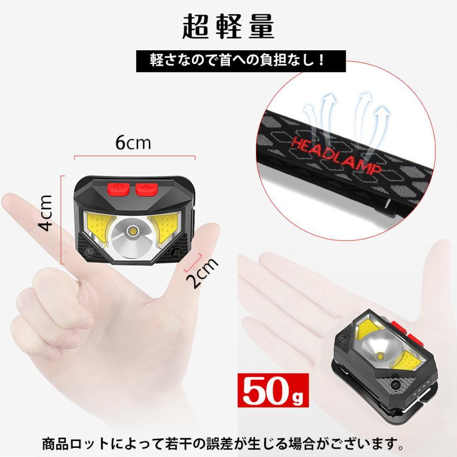 ヘッドライト 充電式 超強力 LED ヘッドランプ 釣り センサー機能 アウトドア キャンプ 登山 センサー LEDライト 作業用 防災 6モード 角度調節可 IPX4防水 hyp 09