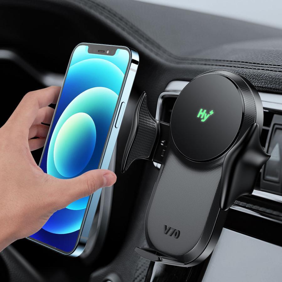 車載ホルダー ワイヤレス充電 自動開閉 車載ワイヤレス充電器 QI対応 片手操作 吹き出し口取り付けタイプ HY-PDV70|hyplus