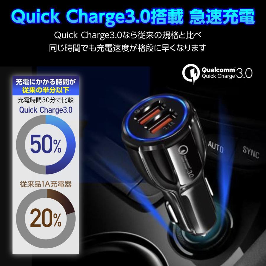 シガーソケット USB 車 スマホ 携帯 充電器 急速充電 2ポート iPhone対応|hysweb|02