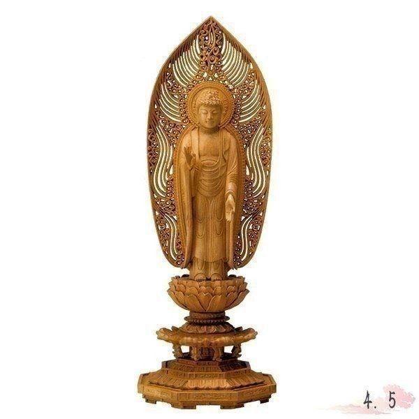 仏像 白檀 八角台座 舟立弥陀 水煙光背 4.5寸 仏具 仏教 本尊 仏壇 Butsuzo a Buddhist image a statue of Buddha