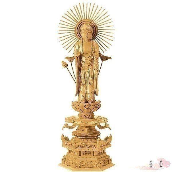 仏像 楠木 地彫 六角台座ケマン付 東立弥陀 金泥書 6.0寸 仏具 仏教 本尊 仏壇 Butsuzo a Buddhist image a statue of Buddha
