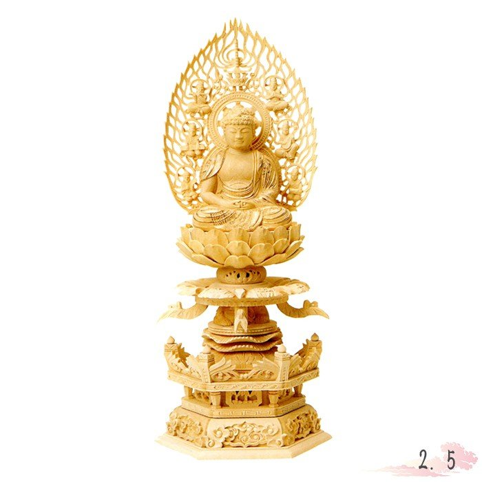 仏像 総柘植 六角ケマン 座弥陀 飛天光背 金泥書 2.5寸 仏具 仏教 本尊 仏壇 Butsuzo a Buddhist image a statue of Buddha