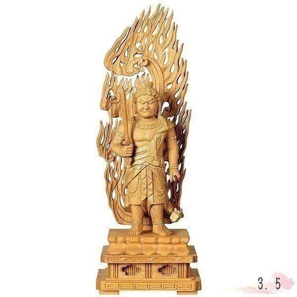 仏像 楠木地彫 不動明王 金泥書 3.5寸 仏具 仏教 本尊 仏壇 Butsuzo a Buddhist image a statue of Buddha