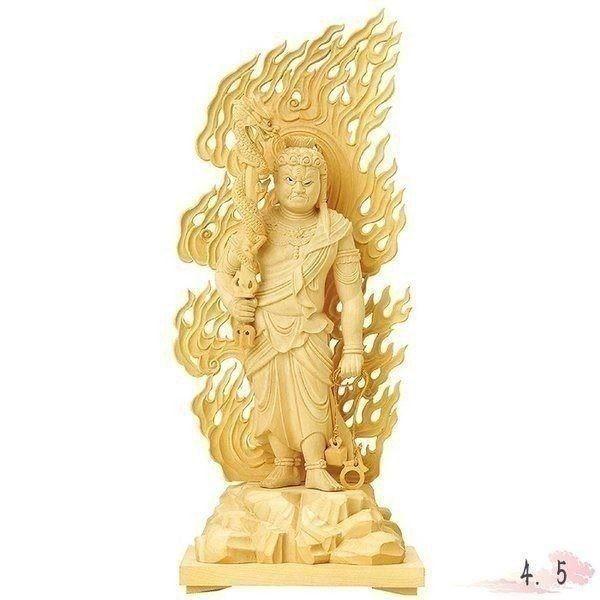 仏像 本柘植 不動明王 眼入 上彫 4.5寸 仏具 仏教 本尊 仏壇 Butsuzo a Buddhist image a statue of Buddha