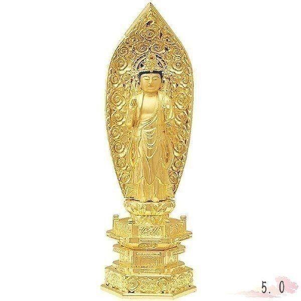仏像 純金中七 聖観音 肌粉 5.0寸 仏具 仏教 本尊 仏壇 Butsuzo a Buddhist image a statue of Buddha
