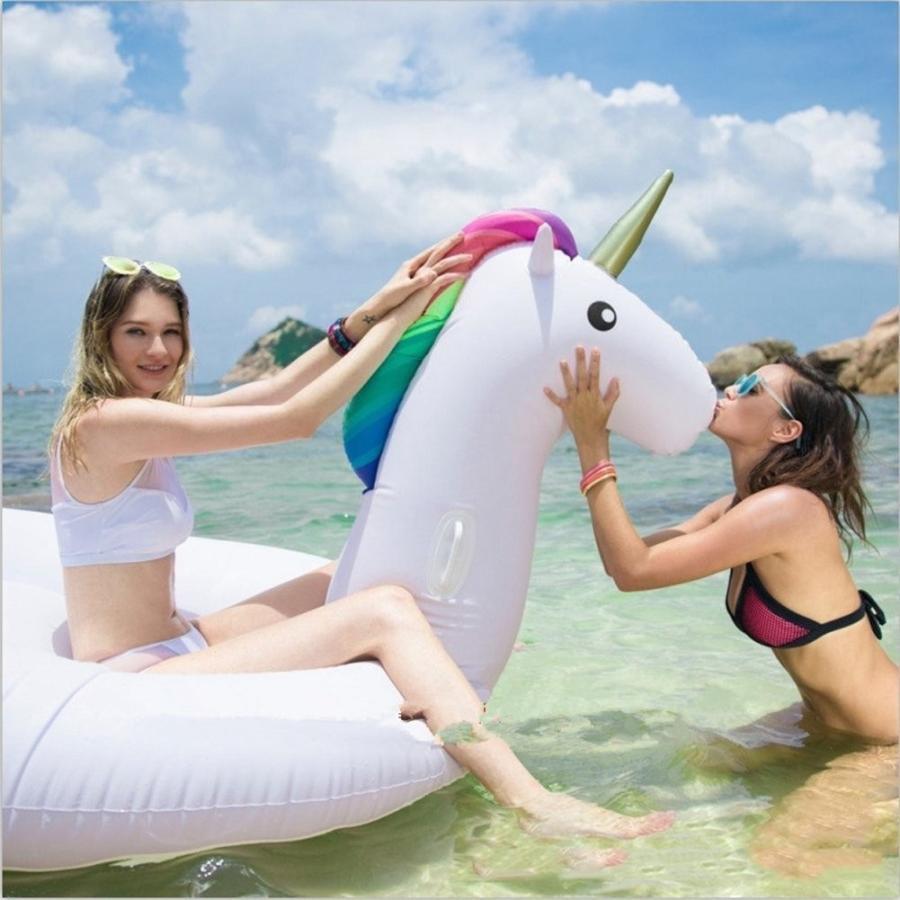 巨大なインフレータブルユニコーン-スイミングプールフローティングベッド-水インフレータブルおもちゃ-ユニコーン大人 & 子供スイミングリングと水レクリ