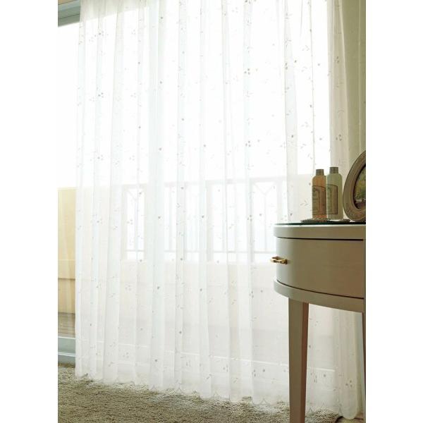 アスワン トルコ製エンブロイダリー(刺繍)レースカーテン E7219 巾250×丈161〜180cm(2枚入) スタイリッシュウェーブ縫製(形態安定)約2倍 3ツ山ヒダ