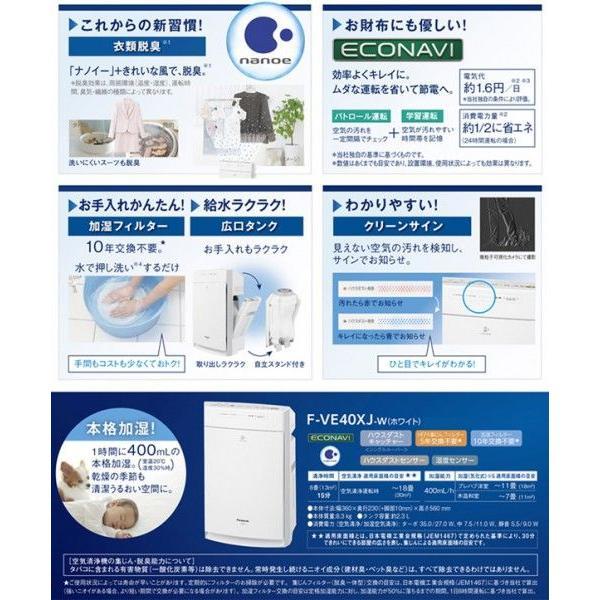 【送料無料】Panasonic(パナソニック)〜18畳対応 ナノイー搭載 PM2.5対応 新品 ホワイト 薄型モデル 最安  ◇ 加湿空気清浄機 F-VE40XJ-W|i-shop777|03