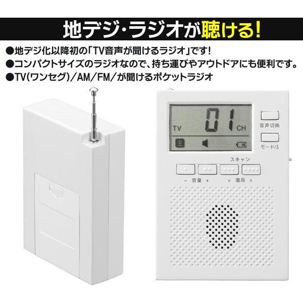 地デジが聴ける!YAZAWA ポータブルラジオ 電池式 AM/FM/ワンセグ音声 カナル型ステレオイヤホン付属 軽量 高音質 訳あり  限定セール ◇ ワンセグラジオ RD-3|i-shop777|02