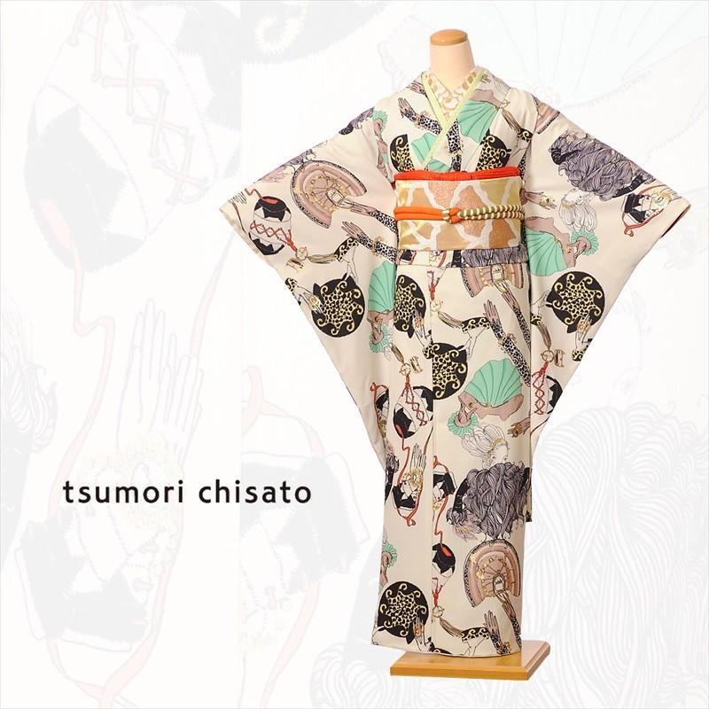 tsumori chisato ツモリチサト 振袖レンタルフルセット8SACB-83 成人式 1月 貸衣装 振袖レンタル 着物レンタル 女優パッチ オフホワイト 150cm·168cm