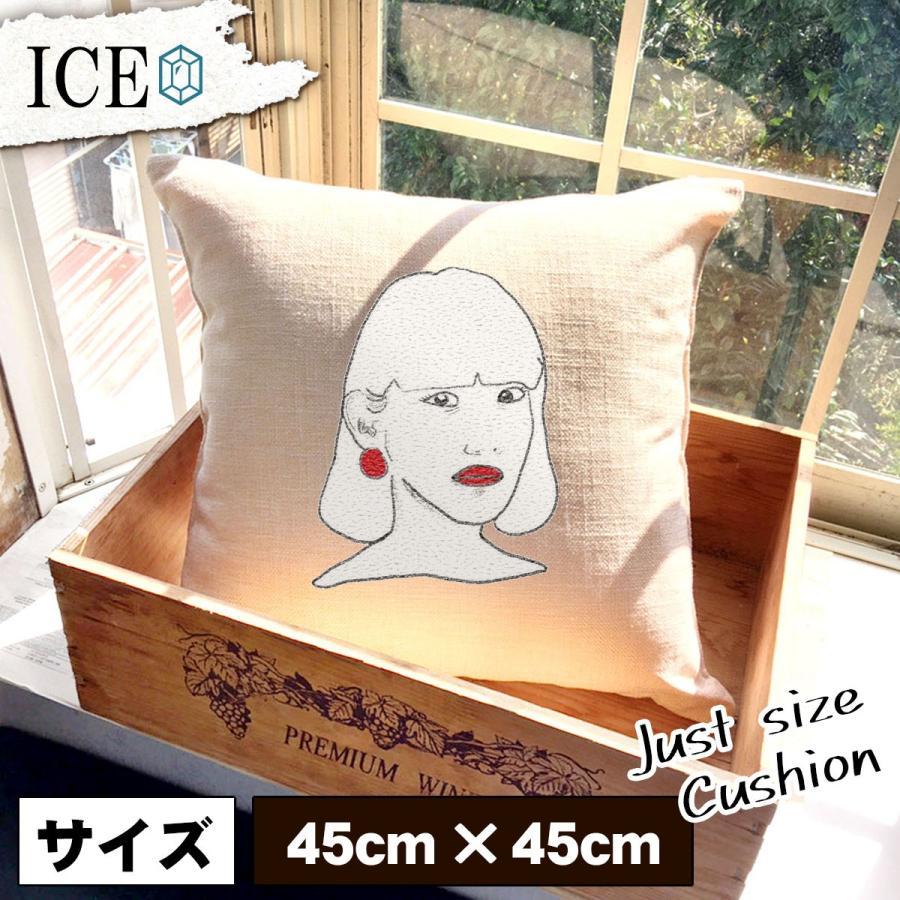 女性 おもしろ クッション おしゃれ ピアス 口紅 45×45cm カバー リネン 白 シンプル 正方形 北欧 かわいい シュール 綿100% 面白い ゆるい プレゼント カッコ|ice-i