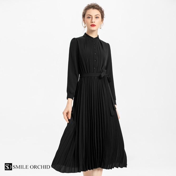 スタンド カラー プリーツ ロング ワンピース 結婚式 パーティードレス ドレス csy001|icecrystal|20