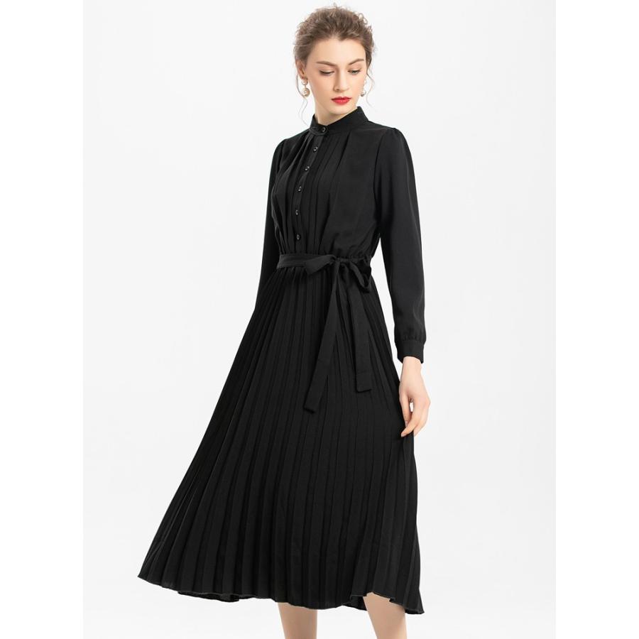 スタンド カラー プリーツ ロング ワンピース 結婚式 パーティードレス ドレス csy001|icecrystal|09