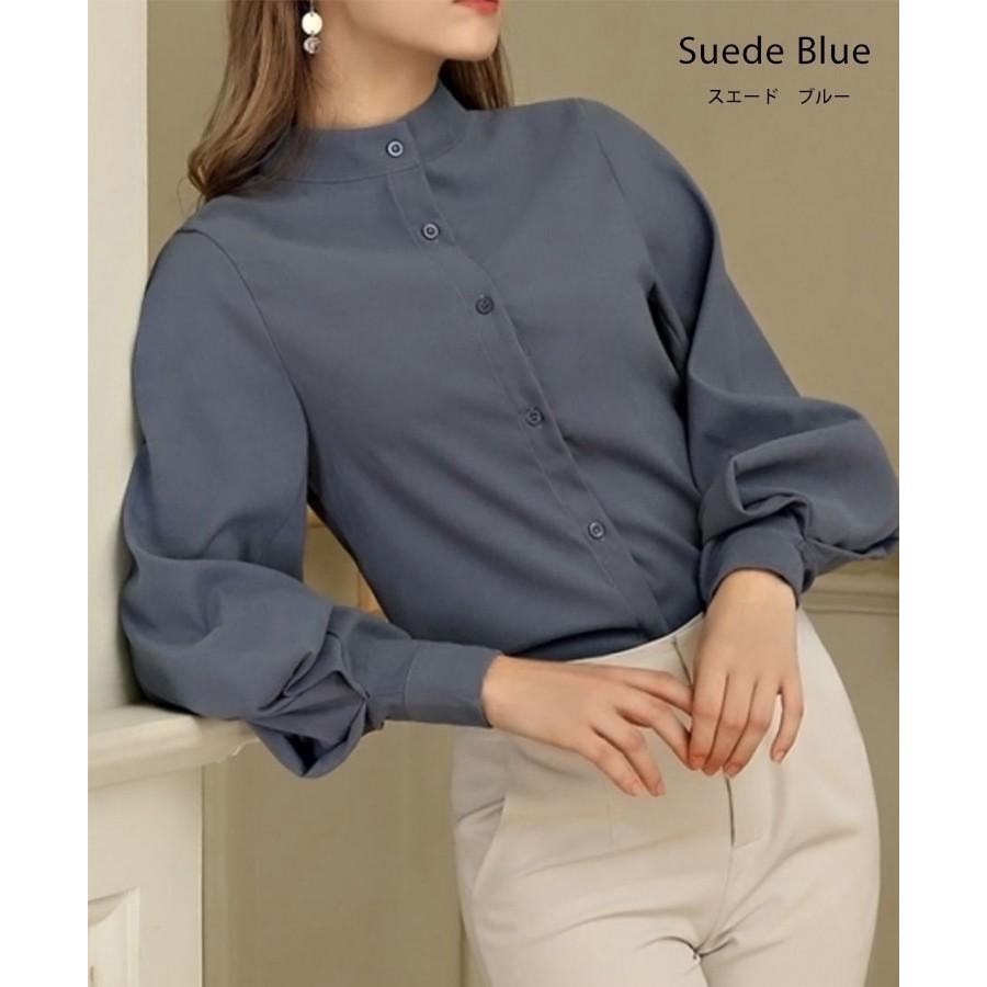 バルーン 袖 バンドカラー チュニック シャツ tops00020|icecrystal|12