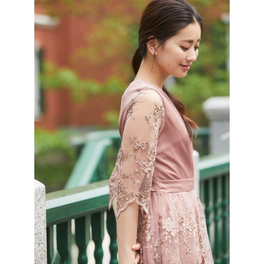 ワンピース パーティードレス 花柄 刺繍 シースルー 結婚式 ドレス yimo918068 icecrystal 12