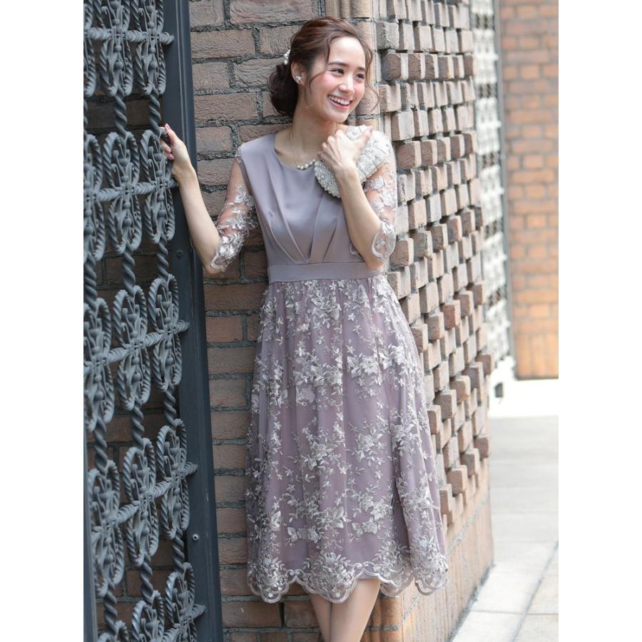 ワンピース パーティードレス 花柄 刺繍 シースルー 結婚式 ドレス yimo918068 icecrystal 03