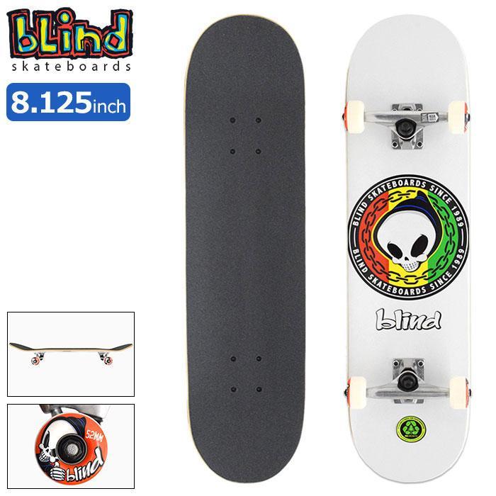 送料無料 ブラインド スケボー 即出荷 スケートボード BLIND コンプリート デッキ 8.125インチ 販売実績No.1 キッズ Reaper 31.7in Rasta × 8.125in 組み立て済み