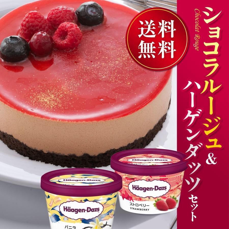 お誕生日  ホールケーキ(冷凍)ショコラルージュ 4号  ハーゲンダッツ バニラ・ストロベリーのミニカップ 2個 セット 送料無料 ギフト|iceselection