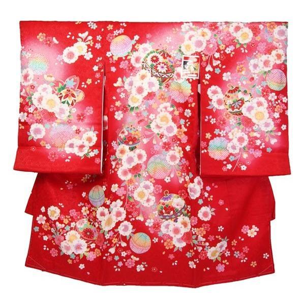 お宮参り初着 赤色新古典 京友禅調ぼかし加工 仕立て上がり 下着付 一つ身 祝い着