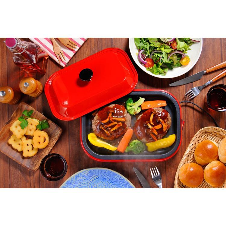 スマートホットプレート 蓋付き フタ おしゃれ オシャレ 焼肉 蒸し料理 レッド 赤 A4サイズ ホームスワン HOME SWAN SHP-70F homeparty|ichibankanshop|03