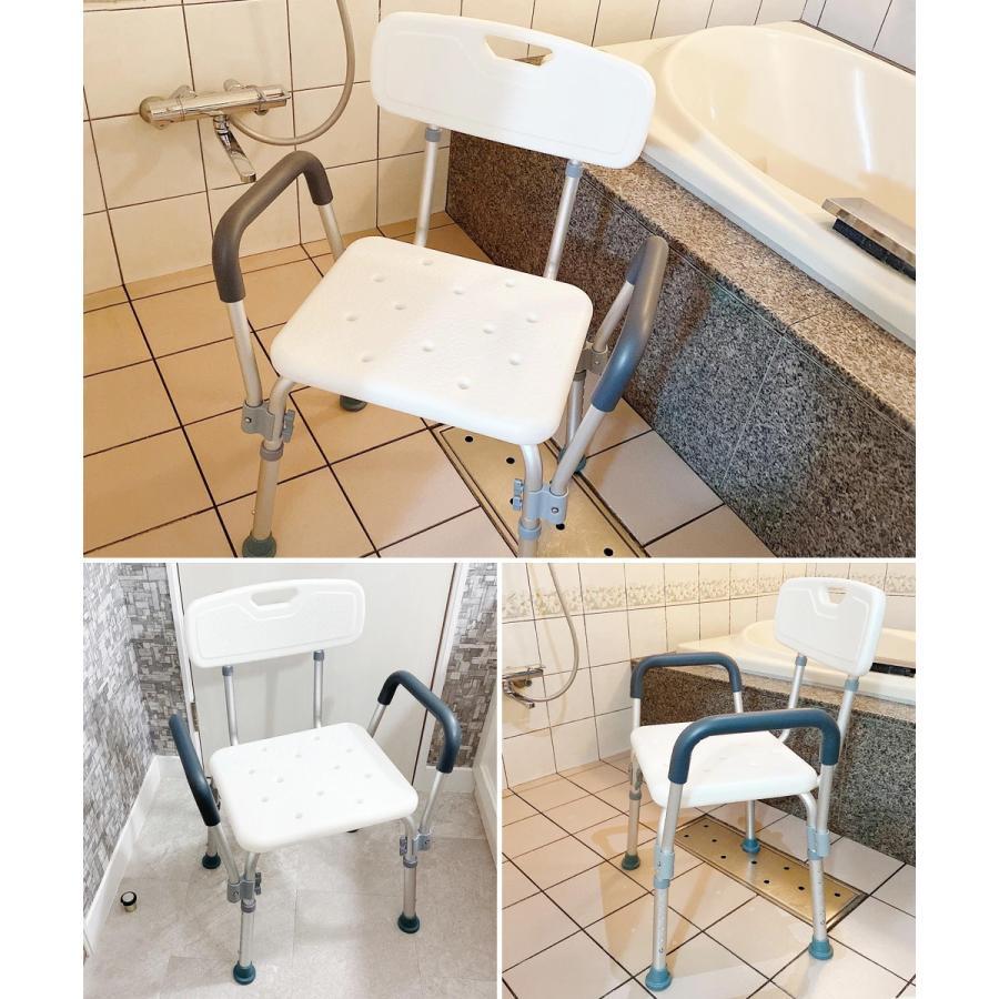 シャワーチェア シャワーベンチ チェアー 介護用 背もたれ お風呂 椅子 高さ6段階調節 シャワーイス 背付き 肘掛け 肘つき SunRuck SR-SBC018|ichibankanshop|11