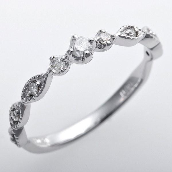 2019年春の ダイヤモンド ピンキーリング K10ホワイトゴールド 1.5号 ダイヤ0.09ct アンティーク調 プリンセス(同梱・), 超激安 bfab2fbe
