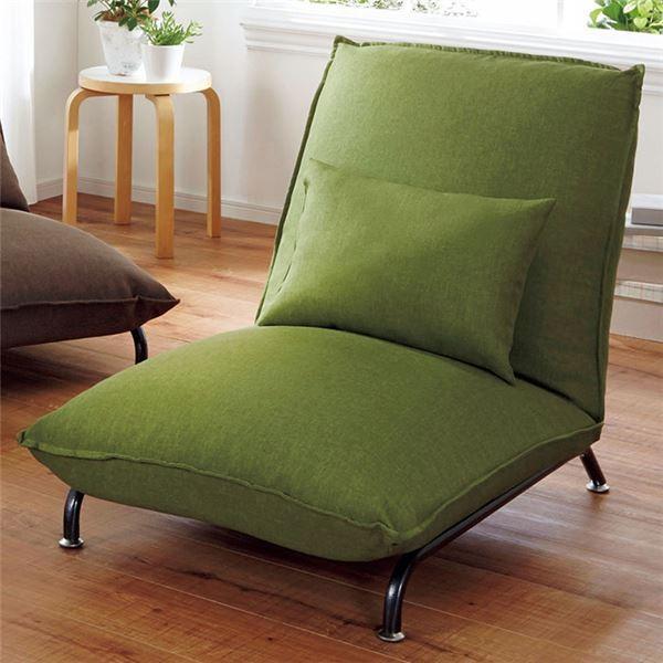 贅沢な座り心地の1人掛けソファーベッド 〔グリーン〕 42段階リクライニング 張地:ファブリック生地 張地:ファブリック生地 スチール脚(同梱・代引不可)