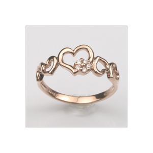 18金 リング 指輪 ダイヤモンド ハートリング K18 ピンクゴールド 4月誕生石 18K ( 誕生日プレゼント 女性 レディース )|ichigo