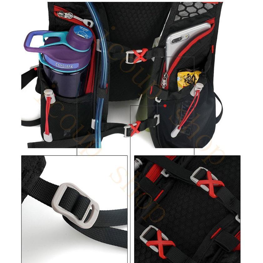 ランニングバッグ リュック 撥水加工 ハイドレーション サイクリングバッグ サイクルバッグ アウトドア 大容量 ジョギング 超軽量 ユニセックス バッグ|icoup|15