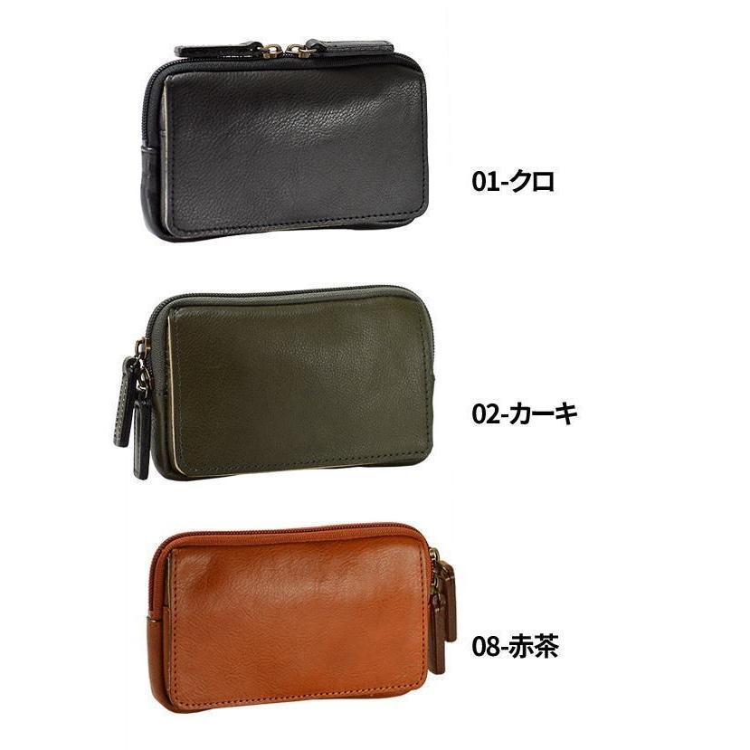ベルトポーチ ウエストポーチ ヒップバッグ ウエストバッグ ブレザークラブ 本革 15cm 薄型 薄マチ スマホケース 日本製 メンズ 25851|ideal-bag|03