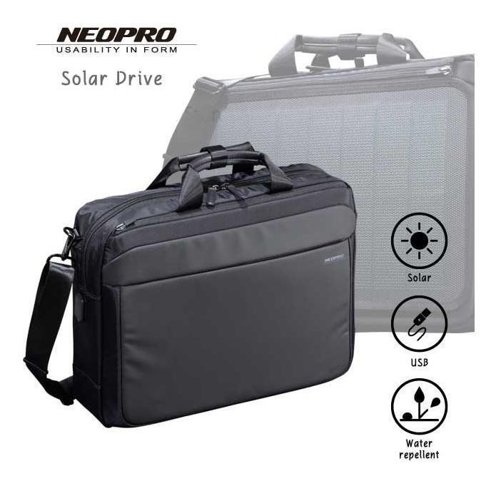 ビジネスバッグ 2Wayブリーフ NEOPRO Solar Drive 2-860 太陽光発電変換効率17%パネル搭載 ソーラーパネル  メンズ かばん カバン 鞄 プレゼント   送料無料 ideal-bag