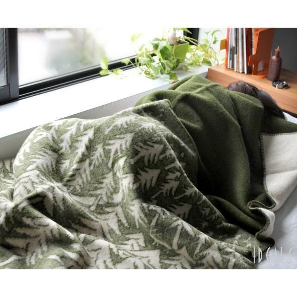 クリッパン KLIPPAN ×ミナ ペルホネン 225102 ウールシングルブランケット ハウスインザフォレスト 130×180cm グリーン [送料無料] ideale