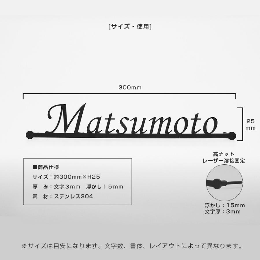 【iron-np01】表札 アイアン おしゃれ 戸建 ステンレス 門柱 アイアン風ステンレス表札【マドラー】 ideamaker 02