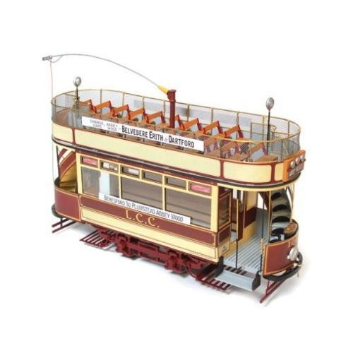 木製模型キット アークレー OC53008S ロンドン(路面電車)和訳付き plus ベース台セット