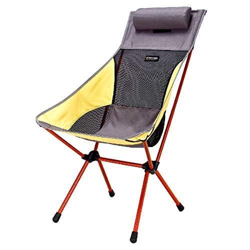 TRIWONDER アウトドア チェア キャンプ 折りたたみ 椅子 ジュラルミン チェア ハイバック 軽量 コンパクト イス (イェロー -
