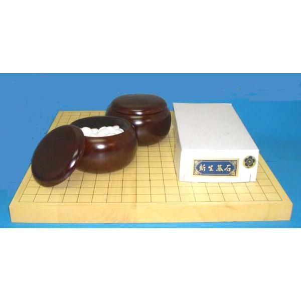 囲碁セット ヒバ10号卓上接合碁盤竹と碁石新生梅 営業 お値打ち価格で 約8mm厚 とP碁笥銘木大