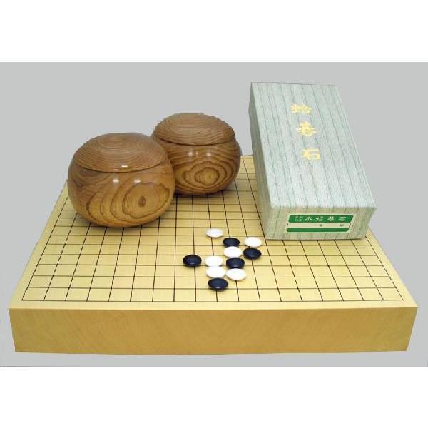 囲碁セット ヒバ2寸卓上接合碁盤竹と蛤碁石徳用32号·手作木製栗大碁笥