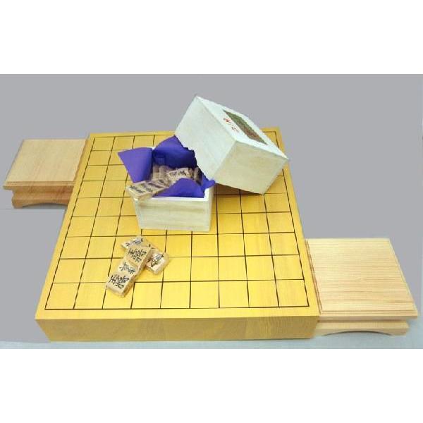 木製将棋セット 新かや2寸卓上接合将棋盤松と黄楊上彫駒に駒台付