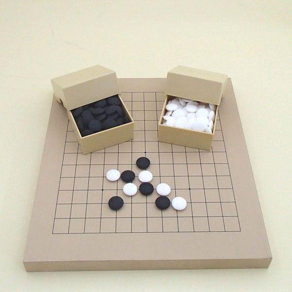 囲碁将棋セット 新桂10号13路碁・将棋両用盤と蛤碁石徳用30号とミニ角ケース