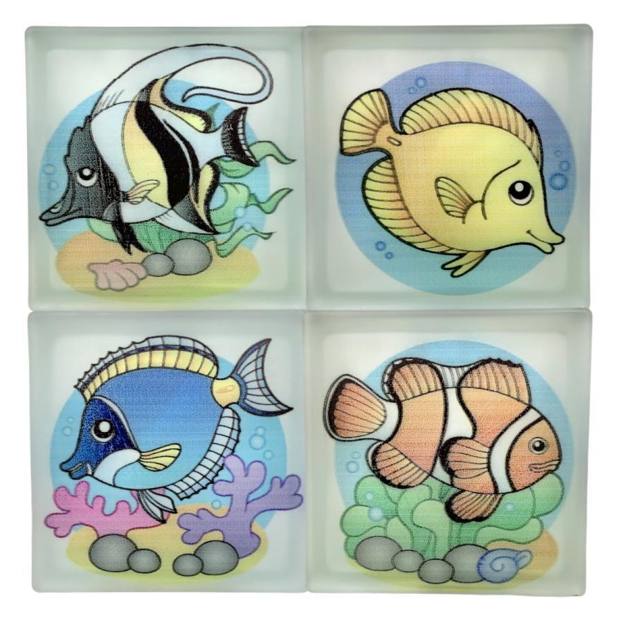 新発売 4個セットガラスブロック 期間限定お試し価格 190x190x80国際基準サイズ 世界で有名なブランド品 魚gb20280