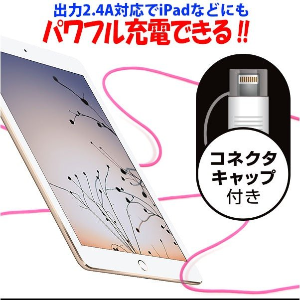 送料無料 充電ケーブル スマホ iPhone12対応 iPod USBケーブル データ通信 充電 急速 1.2m/2m 2.4A MFi 認証品 ピンク UD-LC200-3P ゆうパケット アウトレット ihope 03