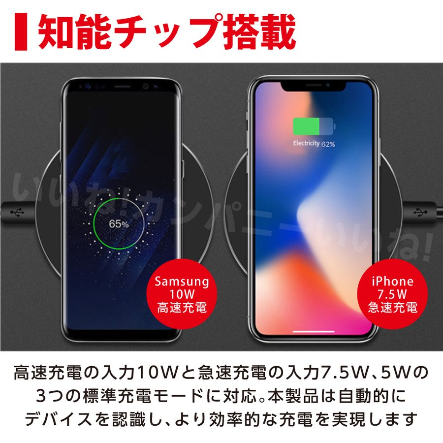 ワイヤレス充電器 充電器 ケーブル 急速 Qi iPhone アンドロイド Airpods Pro Galaxy HuaWei おくだけ充電 薄型 Qi認証 スマートフォン 送料無料 iinecompany 03