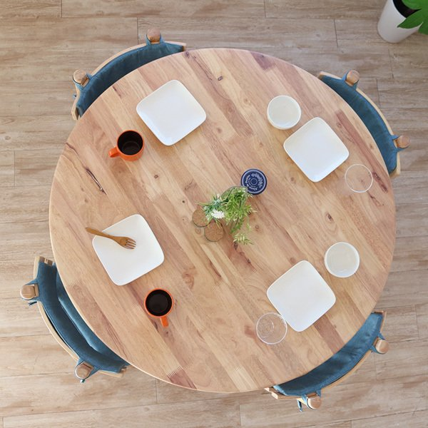 ダイニングテーブルセット 北欧風 円形 4人掛け 5点 天然木 無垢 丸テーブル おしゃれ 幅100cm ナチュラル 回転椅子 カバーリング gkw|ikikagu|02