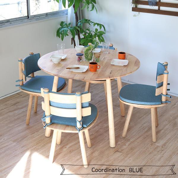 ダイニングテーブルセット 北欧風 円形 4人掛け 5点 天然木 無垢 丸テーブル おしゃれ 幅100cm ナチュラル 回転椅子 カバーリング gkw|ikikagu|11
