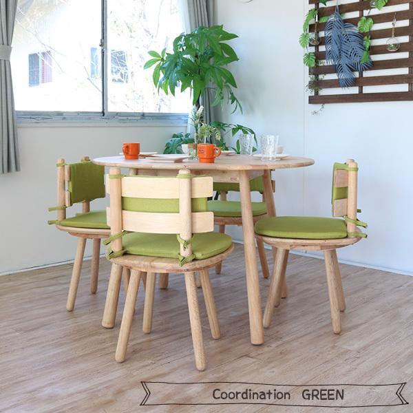 ダイニングテーブルセット 北欧風 円形 4人掛け 5点 天然木 無垢 丸テーブル おしゃれ 幅100cm ナチュラル 回転椅子 カバーリング gkw|ikikagu|12