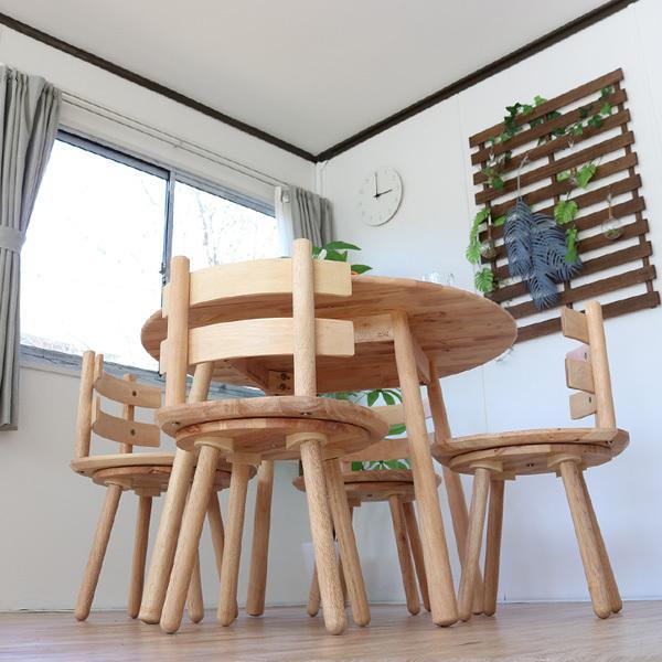 ダイニングテーブルセット 北欧風 円形 4人掛け 5点 天然木 無垢 丸テーブル おしゃれ 幅100cm ナチュラル 回転椅子 カバーリング gkw|ikikagu|14